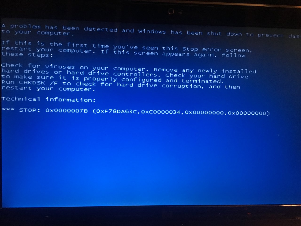 I need to install Windows XP on a laptop with Win7 Error 7b Help
