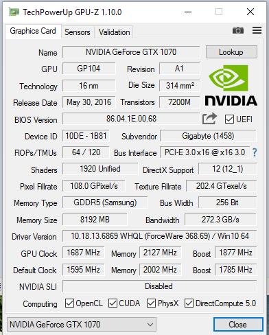 Nvidia gtx 1070 vram lottery (micron or Samsung)??? | [H]ard
