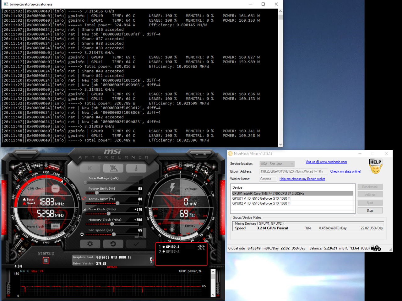 Comparison of mining on AMD Fury X vs mining on 1080TI with