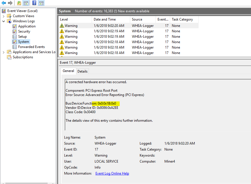 How to troubleshoot PCI Express WHEA-Logger errors on multi