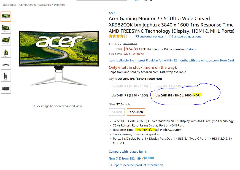 "Acer XR382CQK bmijqphuzx 37.5/"" 3840x1600 QHD 75Hz 1ms HDMI DisplayPort AMD FreeS"