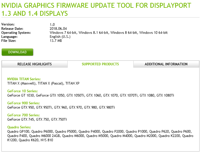 NVIDIA Releases Firmware Update For Displayport 1 3 and 1 4