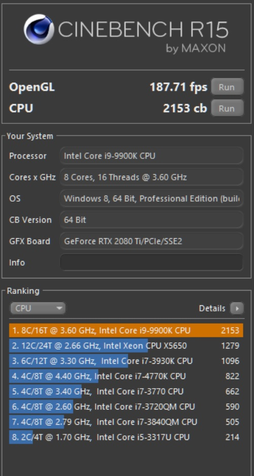 My Cinebench Intel Core i9 9900K Score  | [H]ard|Forum