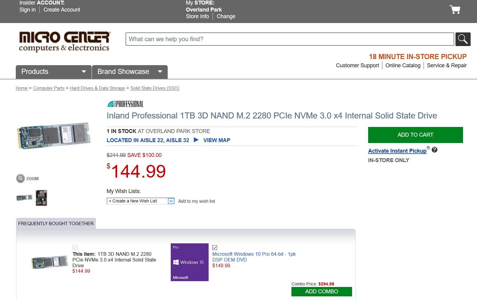 Hot! - Inland 1TB NVMe Premium $107 99 Microcenter | [H]ard|Forum